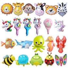 6pcs Mini Animal Foil Balloons Birthday Party Decorations Kids Ocean Fish Balls Inflatable Toys Baby Shower Animal Party balls animal balloons dinosaur party animal shaped children party decoration large giant dinosaurs inflatable dinosaur balloons toys