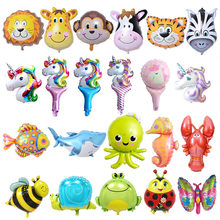 6pcs Mini Animal Foil Balloons Birthday Party Decorations Kids Ocean Fish Balls Inflatable Toys Baby Shower Animal Party balls(China)