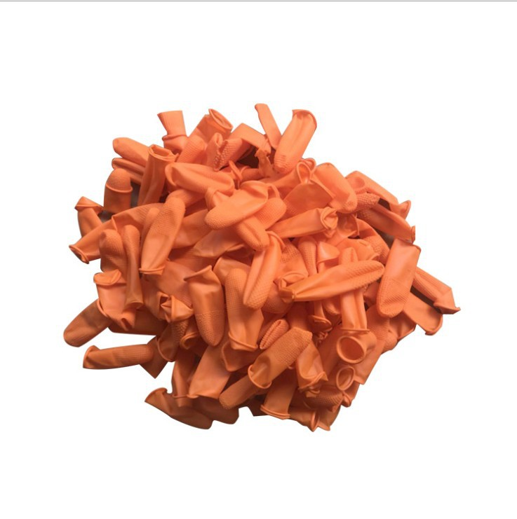 10PCS Orange Non-slip Point Fingertips Labor Wear-resistant Thick Rubber Silicone Disposable Industrial Protective Finger Cots