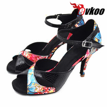 Evkoodance Lady Salsa latin dance shoes girls 8.5cm comfortable Satin Leather women latin ballroom shoes for dance Evkoo-373