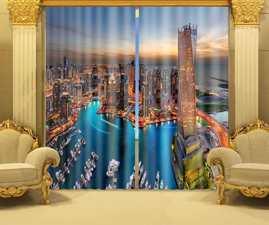 Impression Photo stéréoscopique 3d rideaux dubaï Maritime nuit impression 3D style architectural noir soie 100% rideaux occultants