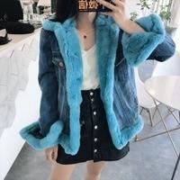 Winter Fashion Genuine Natural Rex Rabbit Fur Jeans Coat Real Fur Denim Jacket Short Style Female Outerwear Down Coat