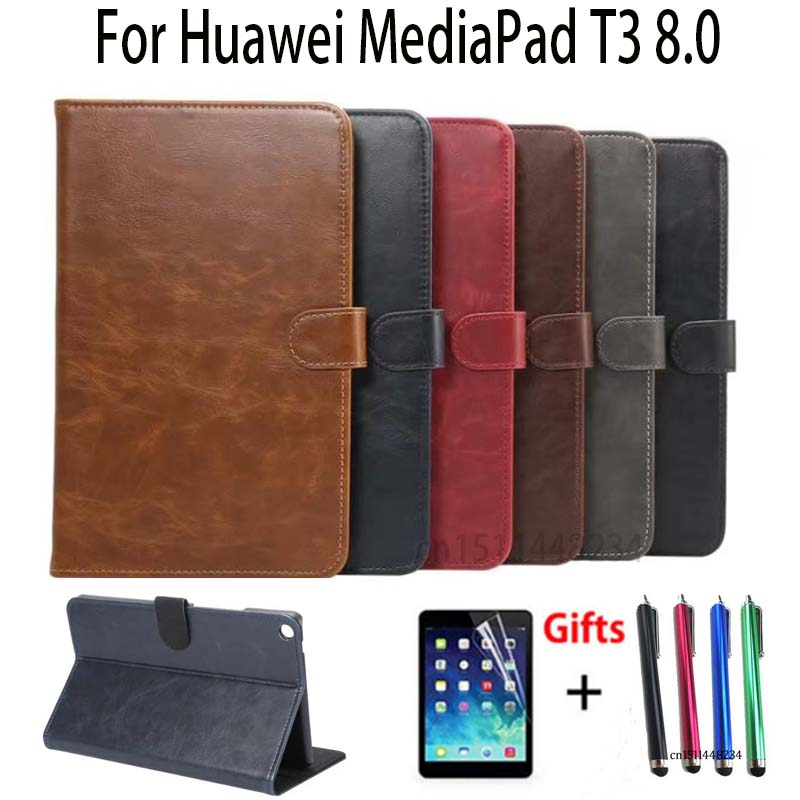 PU leather Material for Huawei MediaPad T3 8.0 KOB-L09 KOB-W09 Tablet Magnetic smart Stand Cases for Honor Play Pad 2 8.0 Cover case for huawei mediapad t3 8 0 kob l09 pu leather 8 inch tablet case for huawei t3 kob w09 smart print flip stand funda stylus