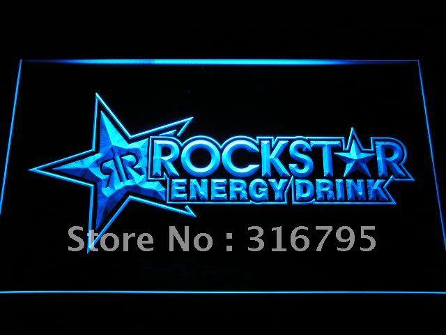 A228 Rockstar Energy Drink Bier Bar LED Neon Licht Zeichen mit Auf/Off Schalter 20 + Farben 5 Größen zu wählen