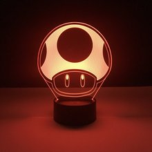 Game Super Mario 1 Up Mushroom Kids Led Night Lamp for Child Bedroom Decorative 3d Battery Powered Cool Baby light