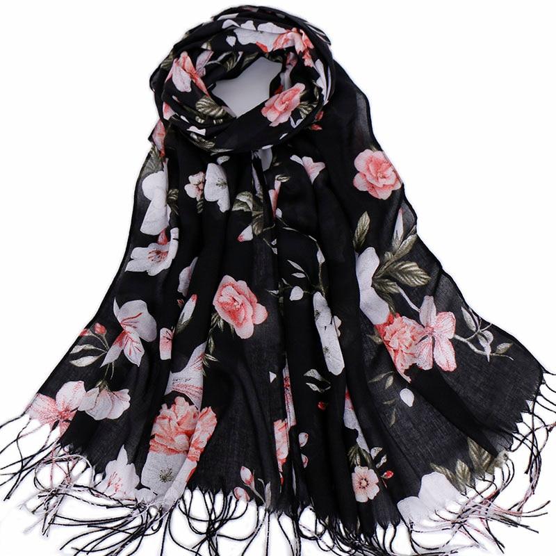 Tassels hijab scarf printe floral shawls muslim hijab scarves viscose wraps fashion Islamic headband turbans scarves