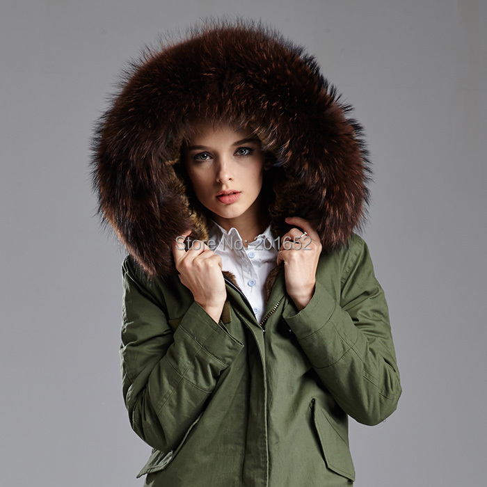 women's green natural fur coats genuine raccoon fur trimmed hood ...