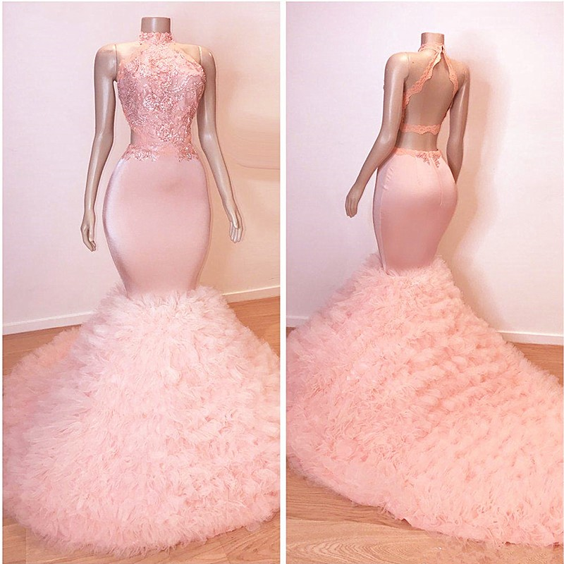African Tulle Ruffles Pink Prom Dresses Mermaid 2019 Sexy Halter Backless Elegant Women Prom Party Gowns For Black Girls