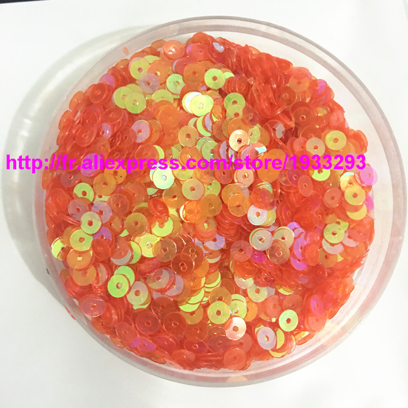 9500Pcs 4mm Transparent AB Colour Sequins Multi-colored Round Flake DIY Accessories 10TAB# Orange Transparent Free Shipping