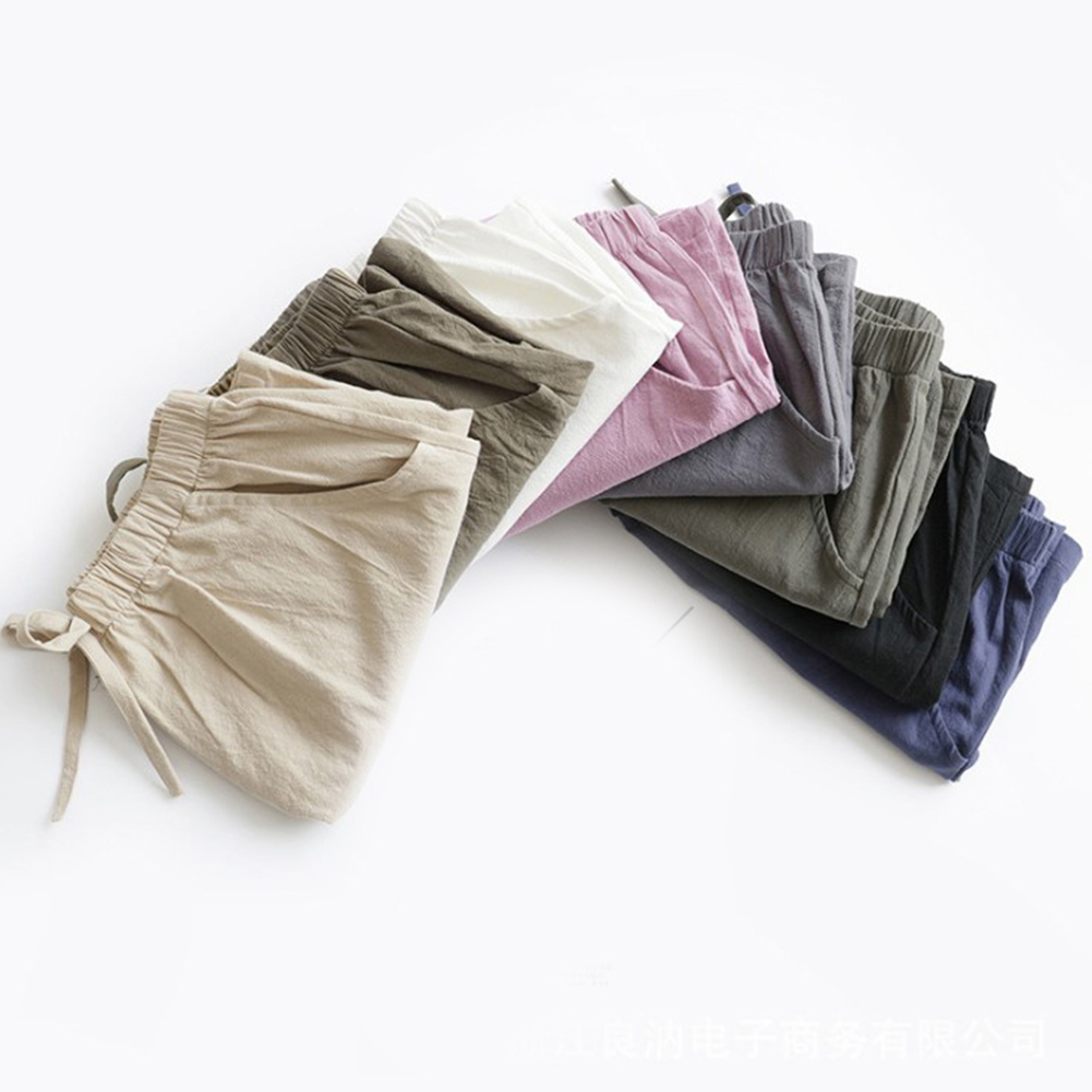 HTB1gZkzboGF3KVjSZFvq6z nXXaU - Women Female Casual Solid Color Cotton Linen Shorts Ladies Summer High Waist Loose Elastic Drawstring Club Holiday Short Pants