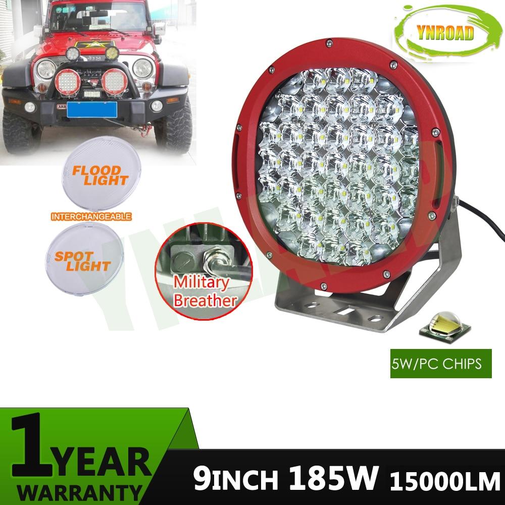 YNROAD 2ks červená 185w 9 palcová LED dioda červená LED dioda mimo pracovní světlo LED pracovní světlo pro SUV, ATV, UTV použití 15000LM IP68