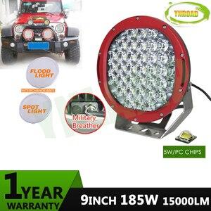 YNROAD 2pcs red 185w 9inch led driving light red led off road light led work light for SUV,ATV,UTV use 15000LM IP68