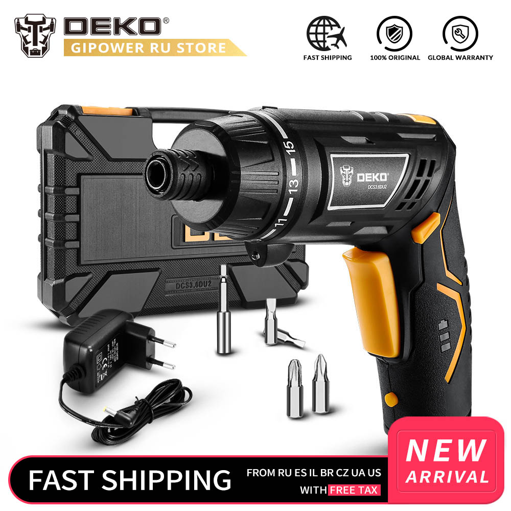 DEKO DCS3.6DU2 Cordless Electric Screwdriver DIY Household Rechargeable Battery Screwdriver With Twistable Handle With LED Light