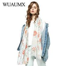 Wuaumx 180*90cm Spring Scarf Women Hijab For Female Long Head Scarves Floral Shawls And Wraps sjaal apaszka foulard femme