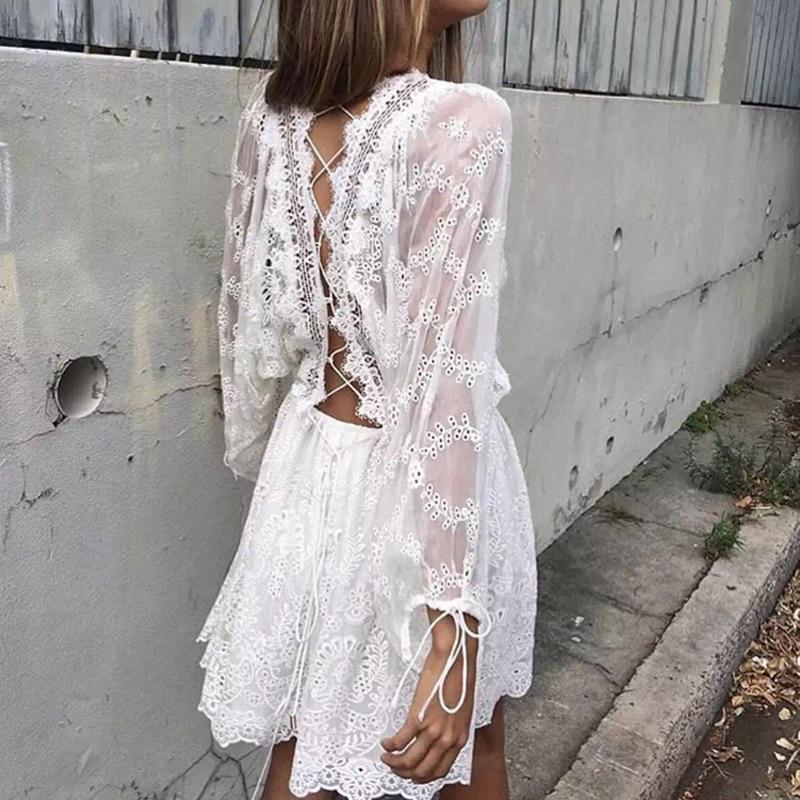 White Boho Long Beach Dress 2018 High Split Vintage Maxi ... |Tahari White Dress Hippie Bohemian