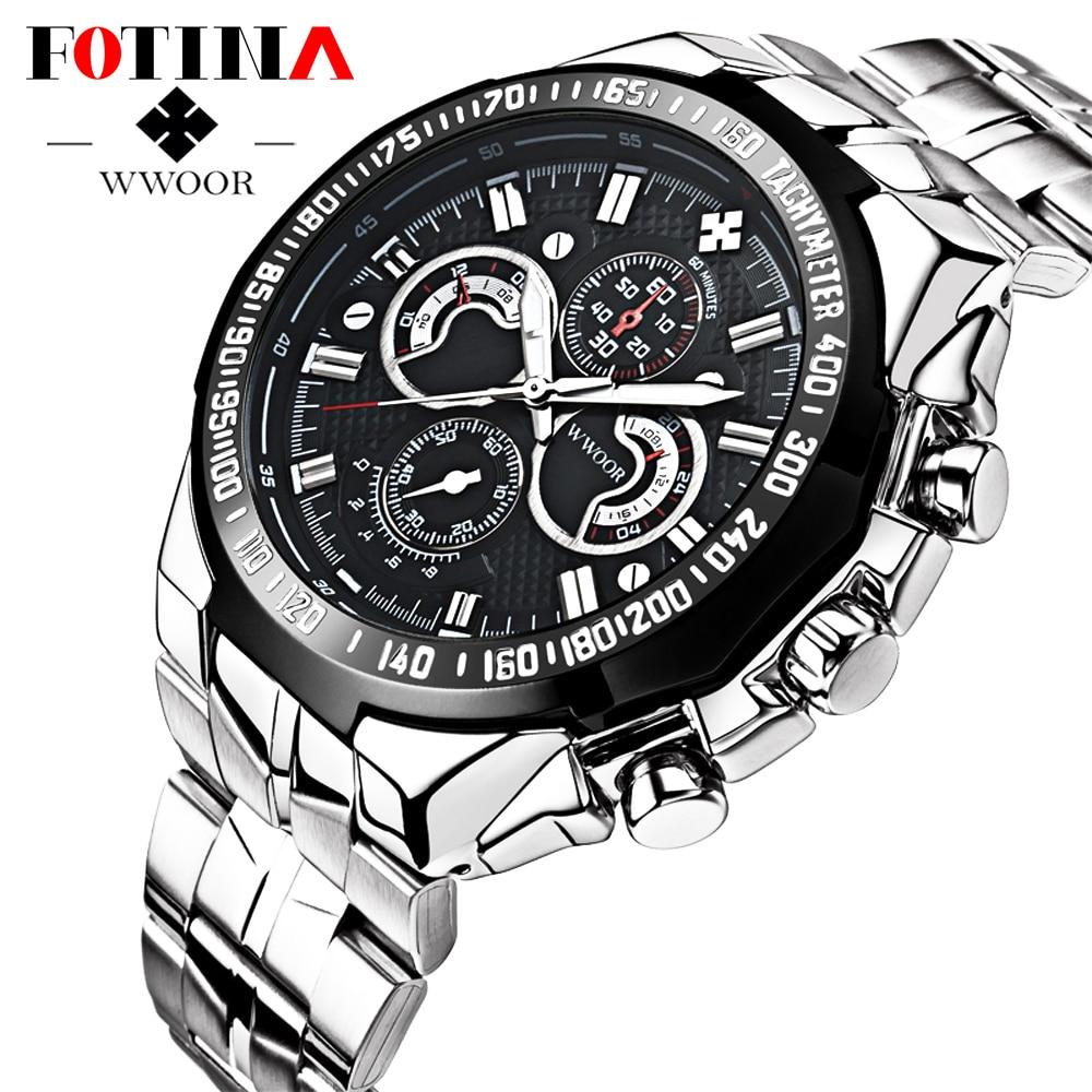 FOTINA Luxury Brand Men Watch New Authentic Sport Watch Men Stainless Steel Band Luminous Wristwatch Relogio
