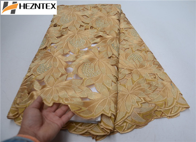 Best Selling French Swiss Voile Lace Fabric 2019 High Quality African Swiss Cotton Lace In Gold For Party Dress PSA555-1