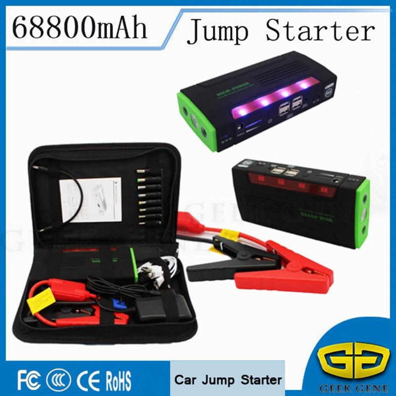 Upgraded 68800mAh Car Jump Starter 600A Portable Lighter Starting Device 4USB Power Bank 12V Car Charger