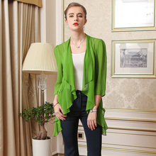 Silk sleeveVOAless female Xia H silk thin loose sunscreen clothing summer 2017 black sweater jacket for