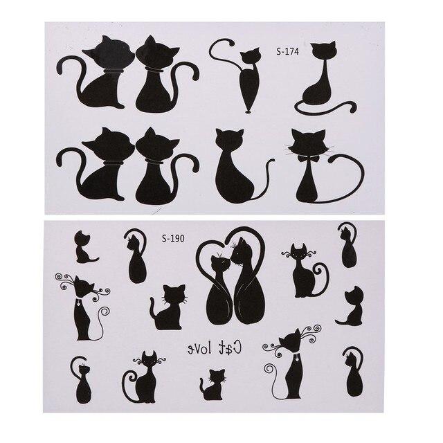 10 Sheets/Lot Fashion Cat Temporary Tattoo Stickers Stylish DIY Waterproof Body Art Decoration Temporary Tattoos