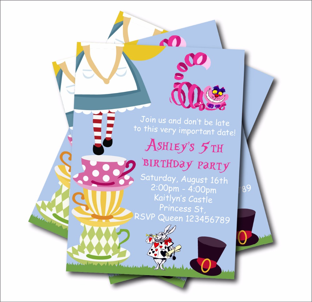 Us 5 39 40 Off 14 Pcs Lot Alice In Wonderland Birthday Party Invitation Vintage Baby Shower Invites Decoration Supply