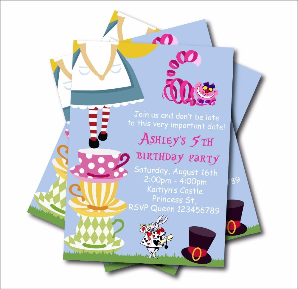 20 pcs/lot Alice in Wonderland Birthday Party Invitation Vintage ...