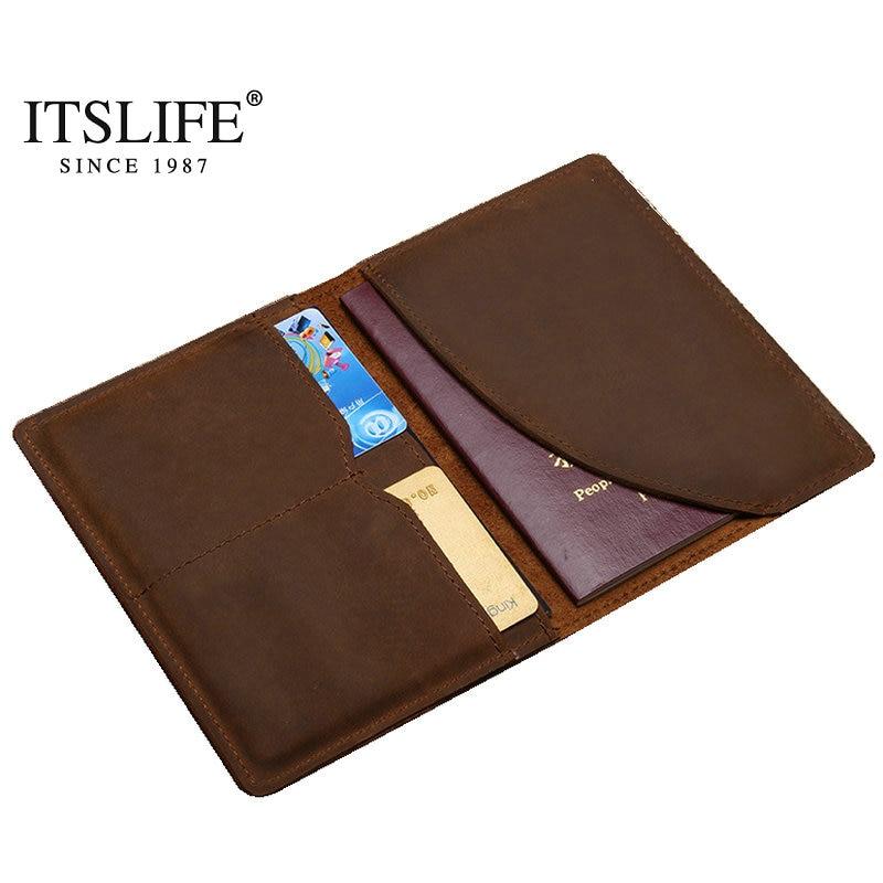 100% New Men's Vintage Brown Genuine Leather Passport Wallet Medium Male Slim 2 Card Holder Crazy Horse Cow Leather Bi-fold simline vintage 100