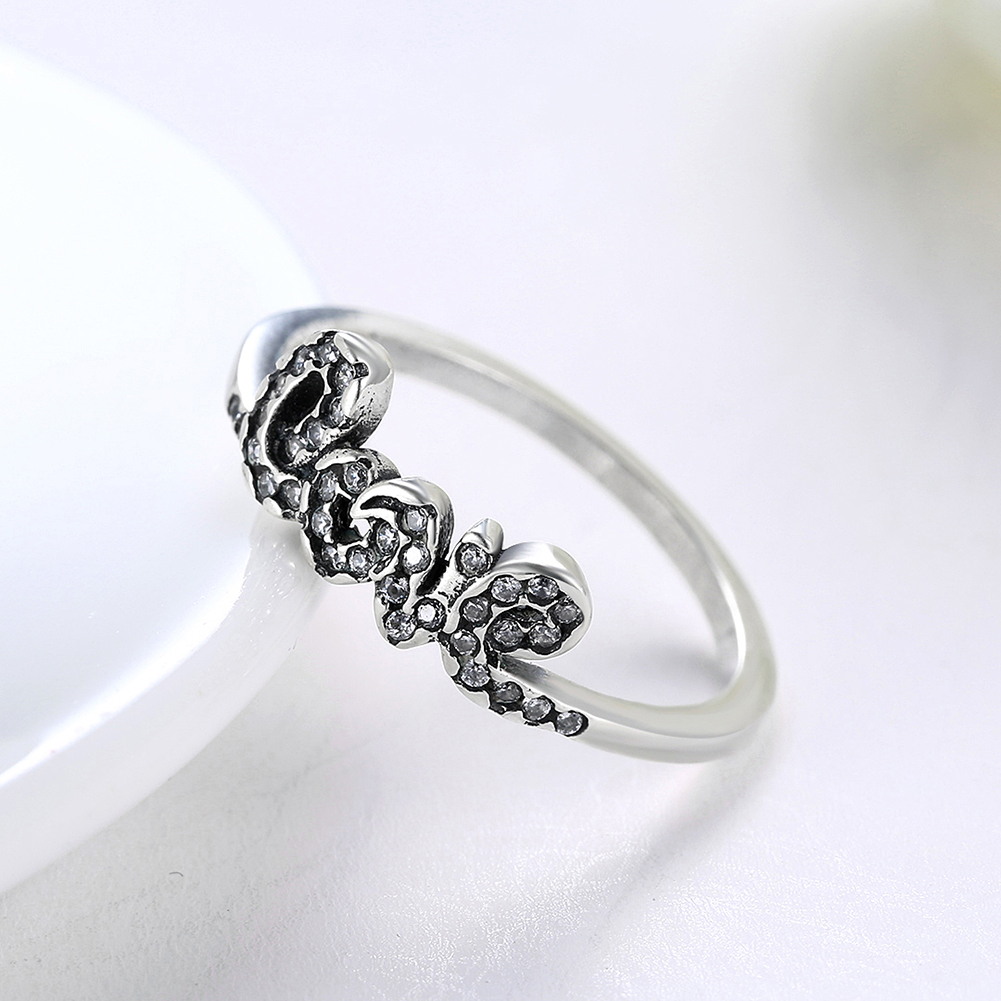925 Sterling Silver Love Set Zircon Rings Do Girls Fashion Engaged ...