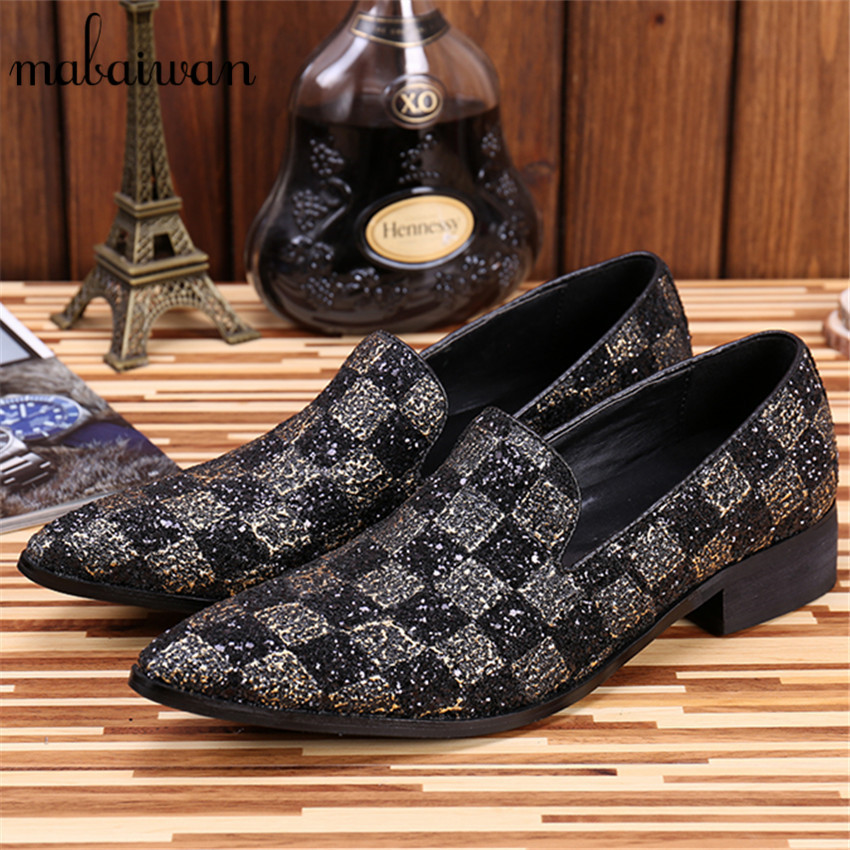 цены  Paillette Leather Men Pointed Toe Flat Shoes Fashion Loafers Slip On Plaid Casual Flats Party Dress Shoes Espadrilles Mocassin