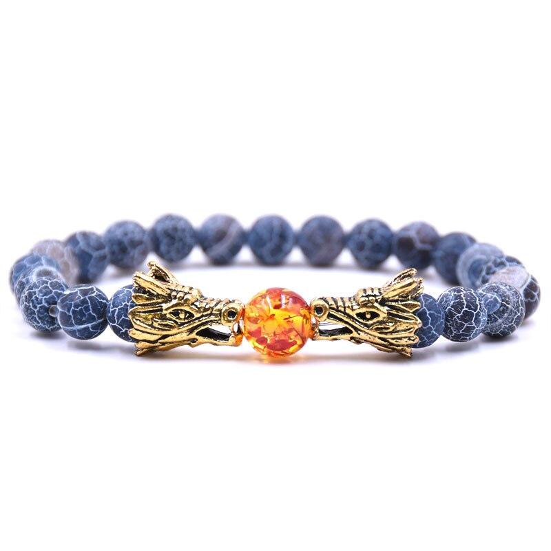 HYHONEY 8MM Natural Stone Beads Bracelet For Men bileklik Men Jewelry Dragon pulseras 23