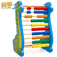 MWZ Dinosaur Wooden Beads 10 rows Abacus Counting Educational Colorful Beads Maths Toy for Kids Children