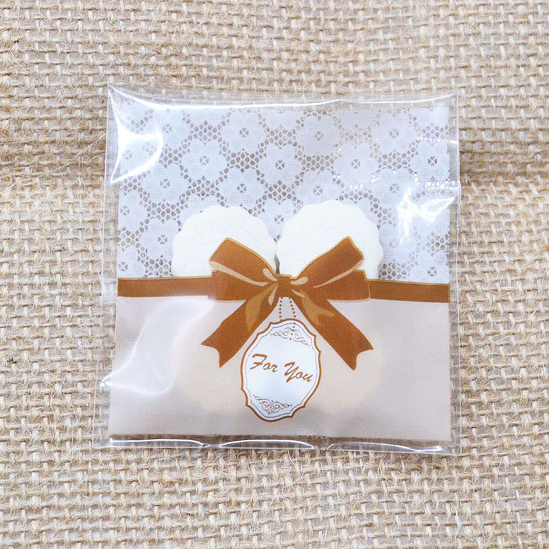 50pcs Cute Bow Design Cake Gift Packages OPP Bags White/Clear Plastic Candy Cookies Biscuits Bags Wedding Party Supplies