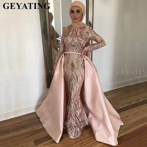 Image 4 - Saudi Arabia Long Sleeves Mermaid Muslim Evening Dress with Detachable Train Rose Gold Sequin Kaftan Dubai Prom Formal Dresses
