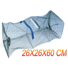 1 Pcs Foldable Fishing Net Crabs Shrimp Minnow Bait Lobster Crawfish Trap Cast Collapsible Fishing Keep Net Cage 26X26X60cm(China)
