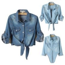 Women's Polo Collar Denim Jean short Shirt Tops Blouse Plus Size