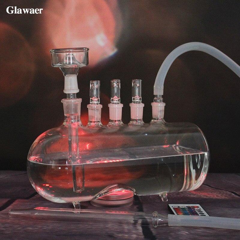 2017 nouveauté grand narguilé en verre horizontal shisha avec 3 vannes de dégagement lumière LED chicha tuyaux d'eau en verre tube narguilé