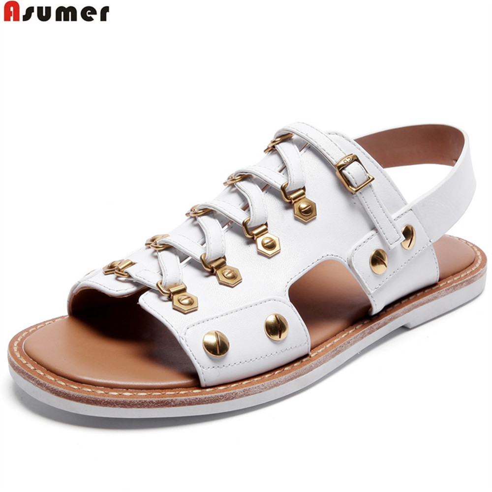 ASUMER black white fashion summer ladies shoes flat buckle casual women genuine leather sandals comfortable super star 3