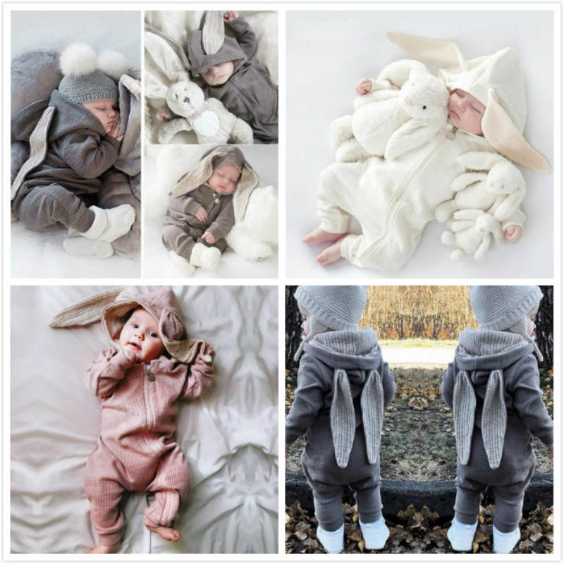 Baby Clothing   Rompers   Babies Big Bunny Hooded Zip baby girl   romper   Boy Four Seasons Wear Grey Harleys Baby jumpsuit clothes