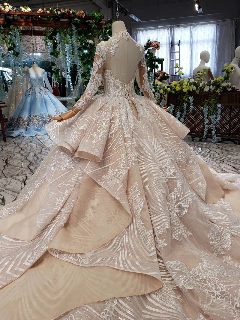 HTL433 long sleeves lace wedding dresses with train v-neck open back puffy ruffle wedding gowns heavy handwork robe de mariee (22)