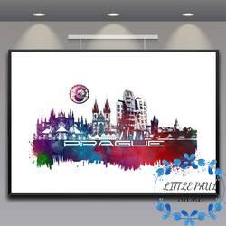Прага Город небоскребов акварель города art Холст плакат Карта города плакаты на стену, изображения для Гостиная No Frame