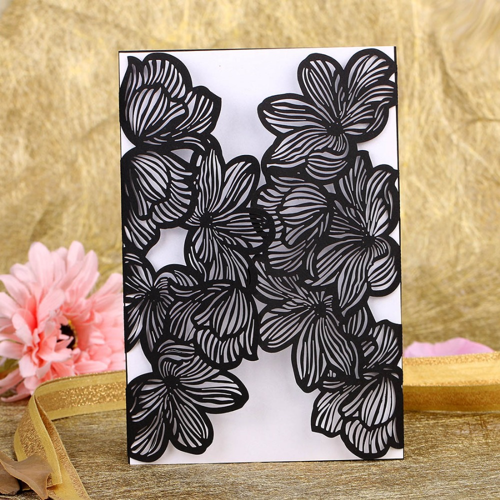 Black Laser Cut Elegant Wedding invitations Handmade greeting ... for Laser Cut Designs Paper  183qdu