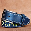 Senmi Men genuine leather buckles belts for men Automatic adjustment Striped fashion Belts with buckles
