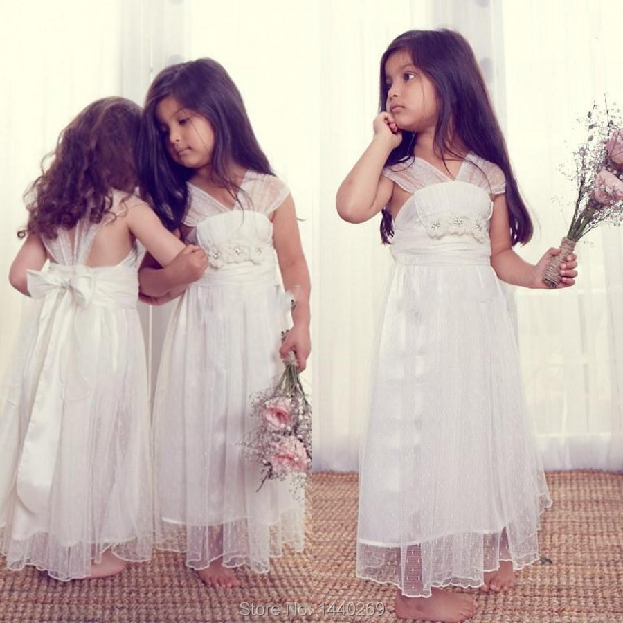Lovely A Line V Neck Tulle Lace Ankle Length   Flower     Girl     Dresses