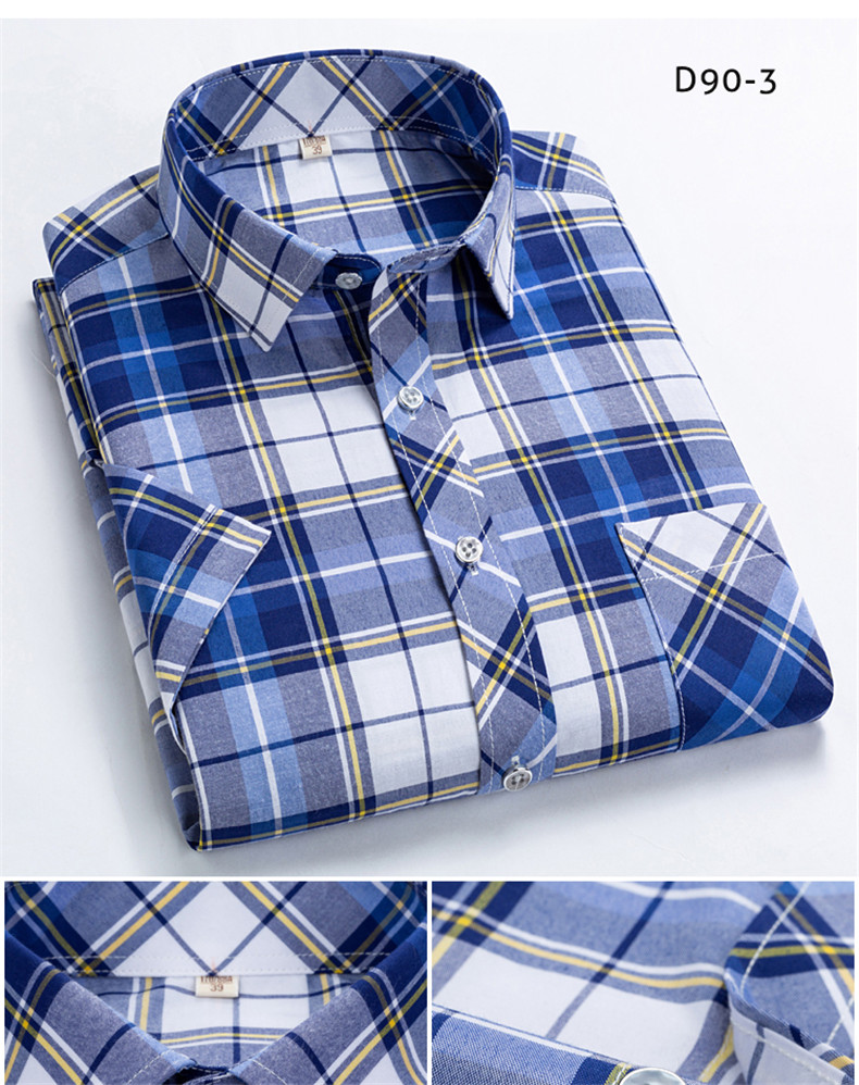 Checkered shirts for men Summer short sleeved leisure slim fit Plaid Shirt square collar soft causal male s with front pocket