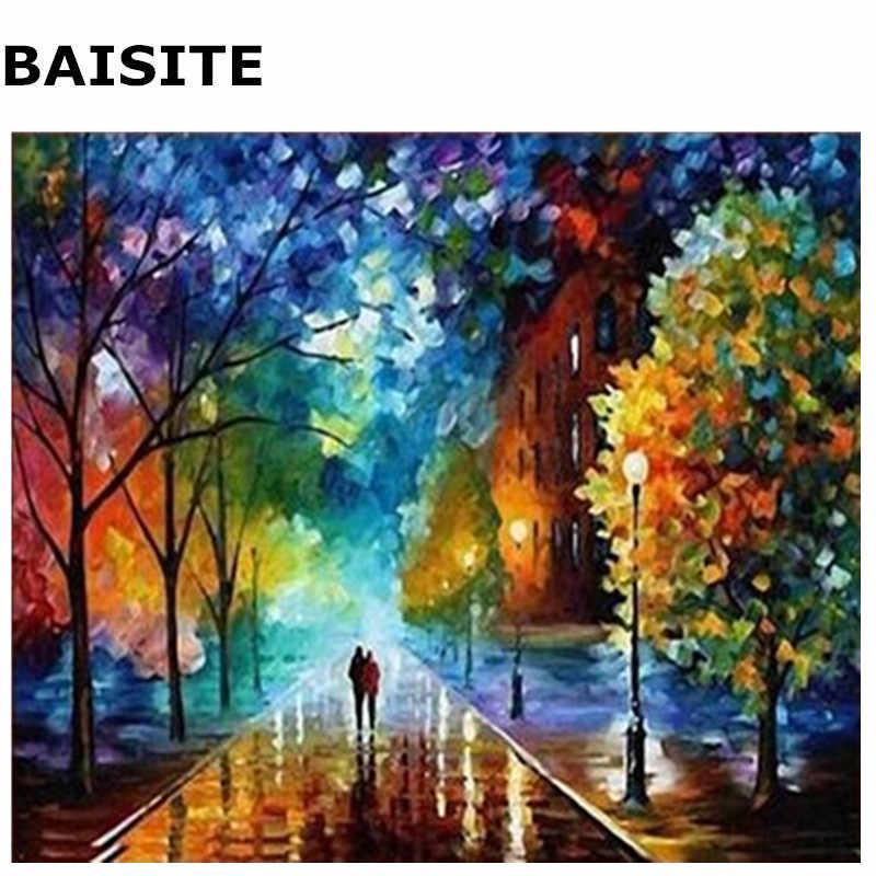 BAISITE ללא מסגרת תמונה DIY שמן ציור מופשט נוף תמונת בד קיר סלון דקור E175