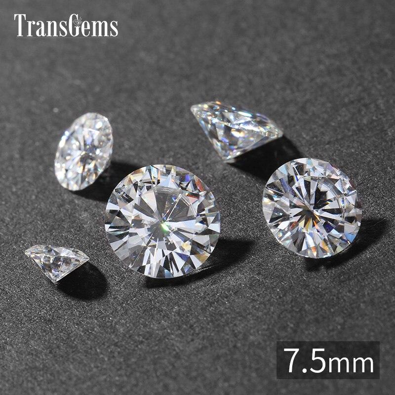 TransGems Diamètre 7.5mm GH Couleur Lab Grown Moissanite Diamant Lâche Pierre en Diamant Équivalent Poids 1.5 Carat pour Bijoux