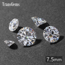 TransGems 7.5mm 1.5 Carat GH Color Certified Lab Grown Moissanite Diamond Loose Bead Test Positive As Real Gemstone