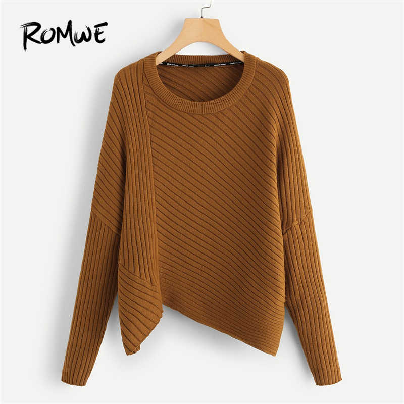 ROMWE Brown Rib Knit Asymmetrical Hem Sweaters Fashion 2018 Women Sweater Tops Womens Casual Autumn Clothing Pullovers Jumper