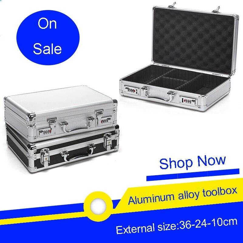 Aluminum Alloy Toolbox Password Box Showcase Instrument Box Suitcase Storage Box Partition Storage Tool Case