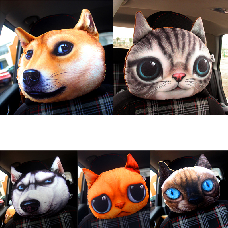 Cabeza del asiento del coche cojín perro y gato tigre coche reposacabezas creativo asiento del coche cojín auto suministros cuello reposacabezas
